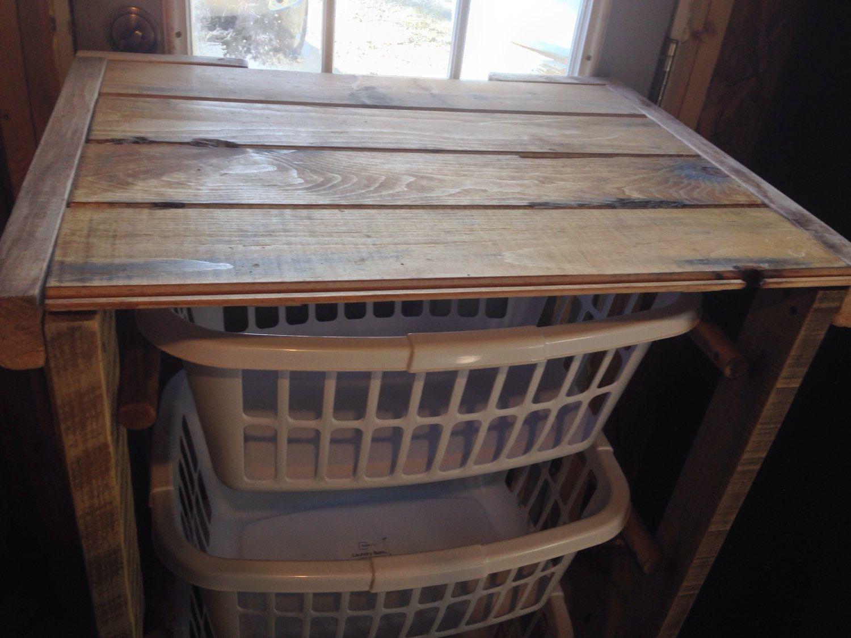 3 laundry basket holder reclaimed wood laundry organizer basket holder with table counter top. Black Bedroom Furniture Sets. Home Design Ideas