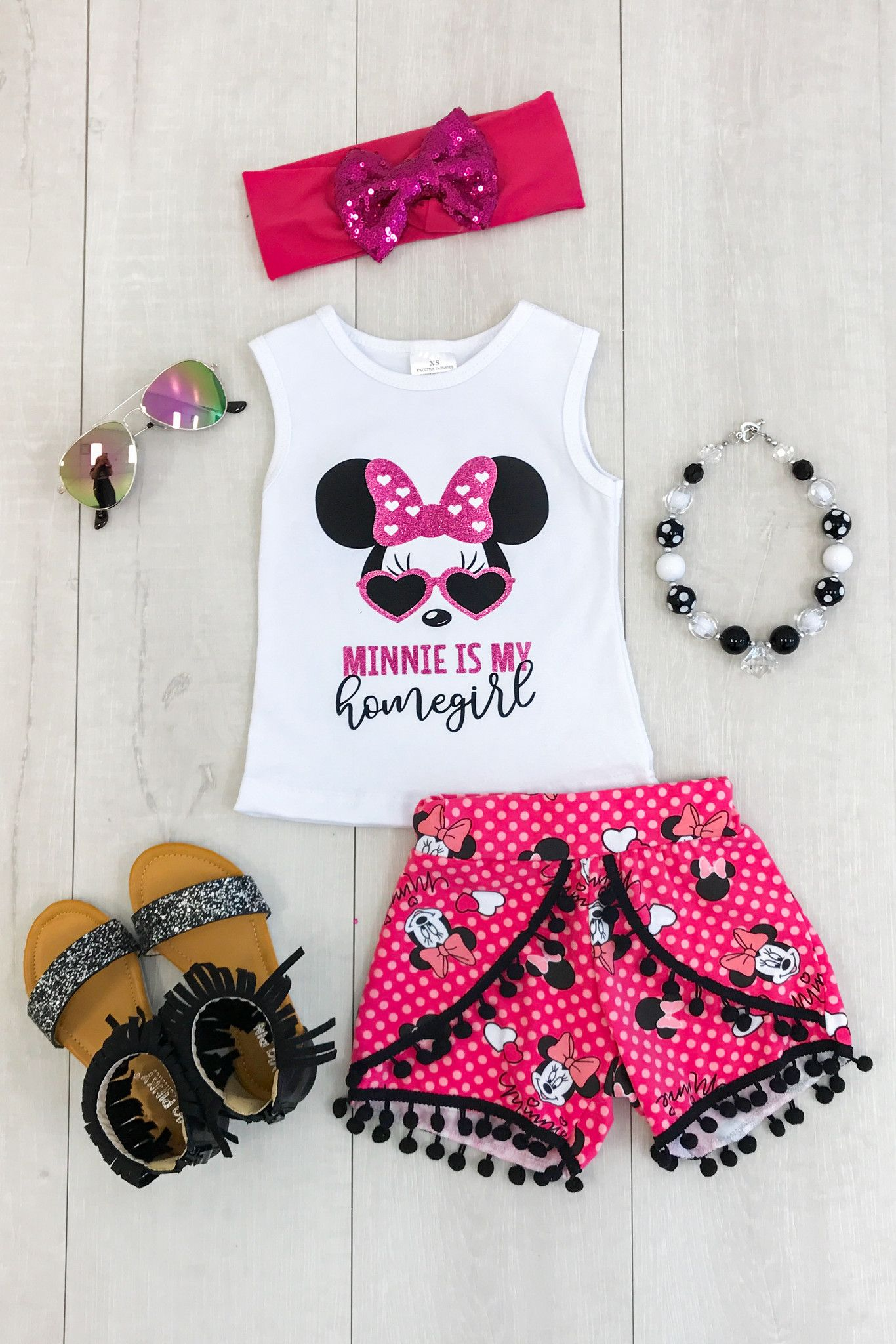 """Minnie Is My Homegirl"""" Pom Pom Short Set from Sparkle in Pink"""