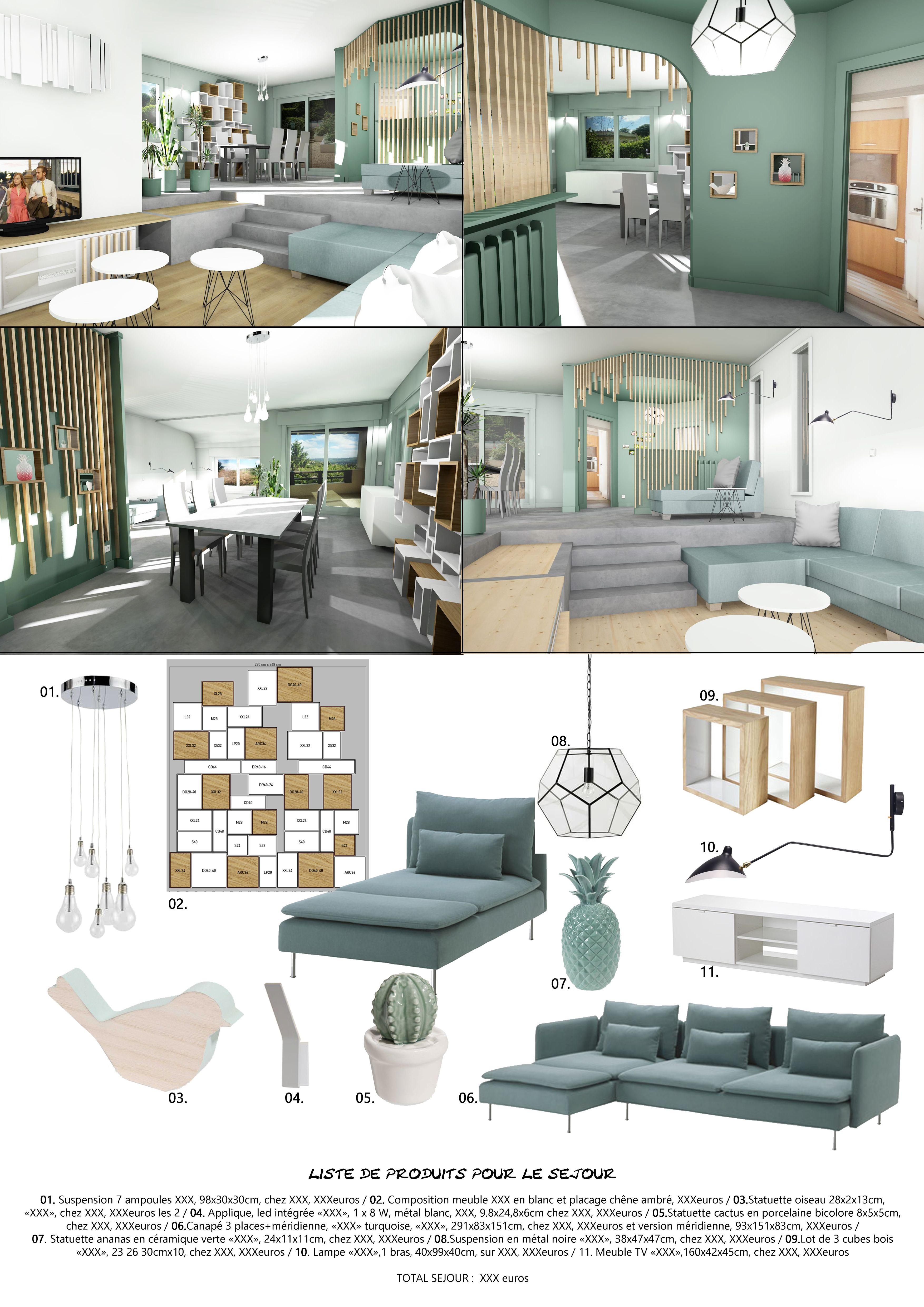 Aménagement et décoration pour un séjour avec entrée et salon tout ...