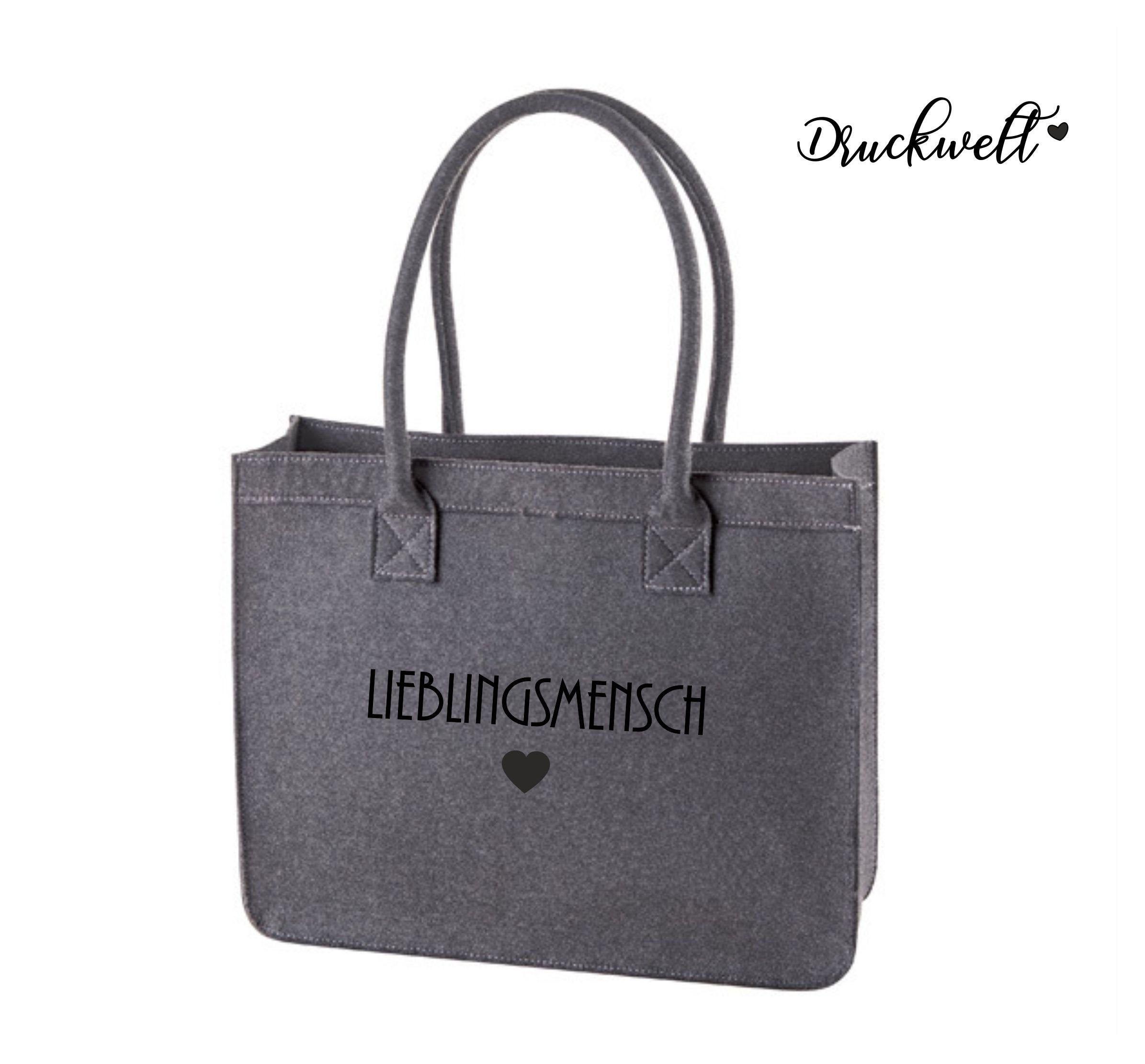 Filztasche BESTICKT mit Wunsch Namen Tasche Shopper Classic Einkaufstasche Bag