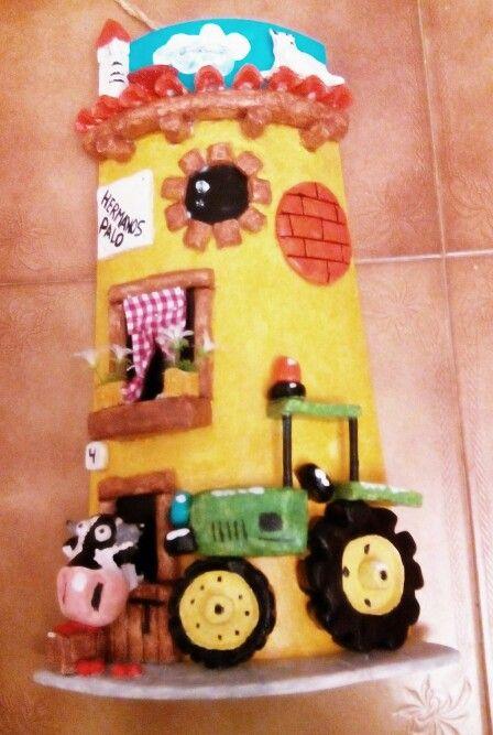 Teja con tractor artesanias tejas pinterest - Tegole decorate istruzioni ...