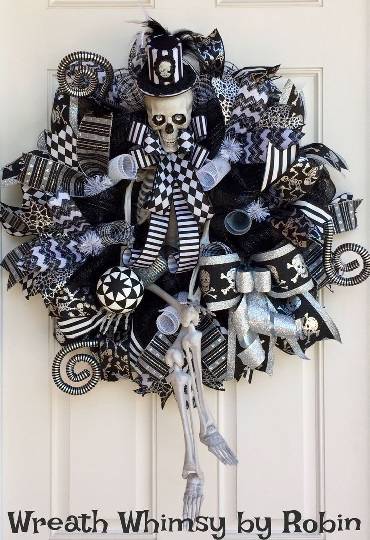 XL Halloween Deco Mesh Skeleton Wreath in Black, White  Silver - Whimsical Halloween Decorations