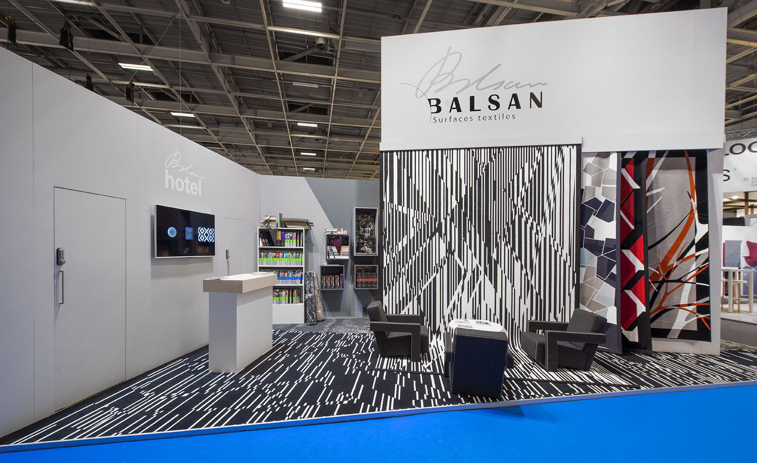 Stand equip hotel balsan stand equiphotel salon fair architecture deco carpet design for Stand expo deco