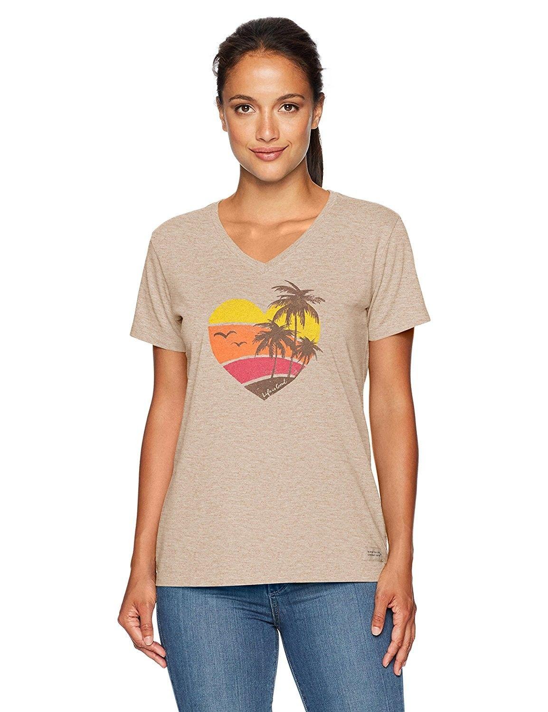 c7770a6c4ce Women s Crusher Vee Color Block Beach Htrmch T-Shirt- - Heather ...