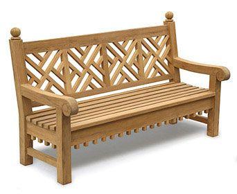 Wonderful Teak Chinoiserie Lattice Bench, Chippendale Garden Bench, Park .