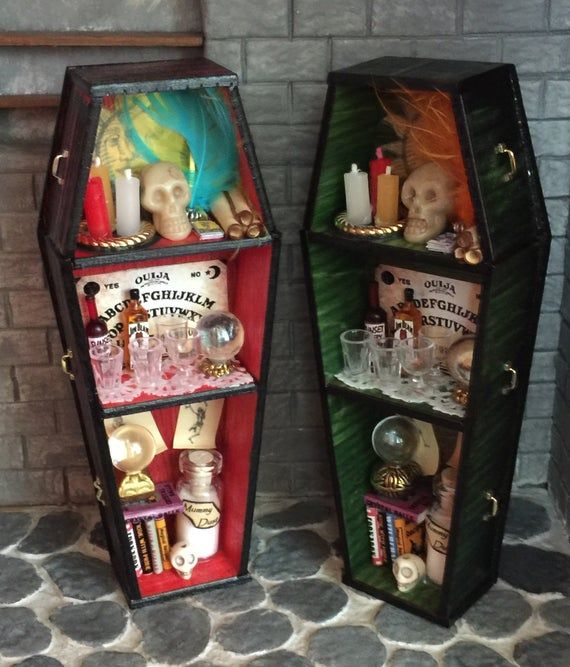 REDUCED - Choice of 2 Different Filled One Inch Scale Wooden Coffins for a Haunted Dollhouse, Witch or Mad Scientist Scene
