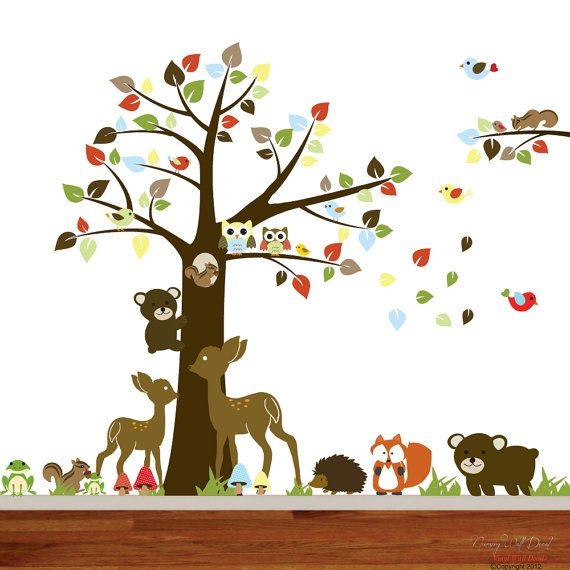 Nursery Vinyl Wall Decal Sticker Forest Woodland Animal Deer Fox