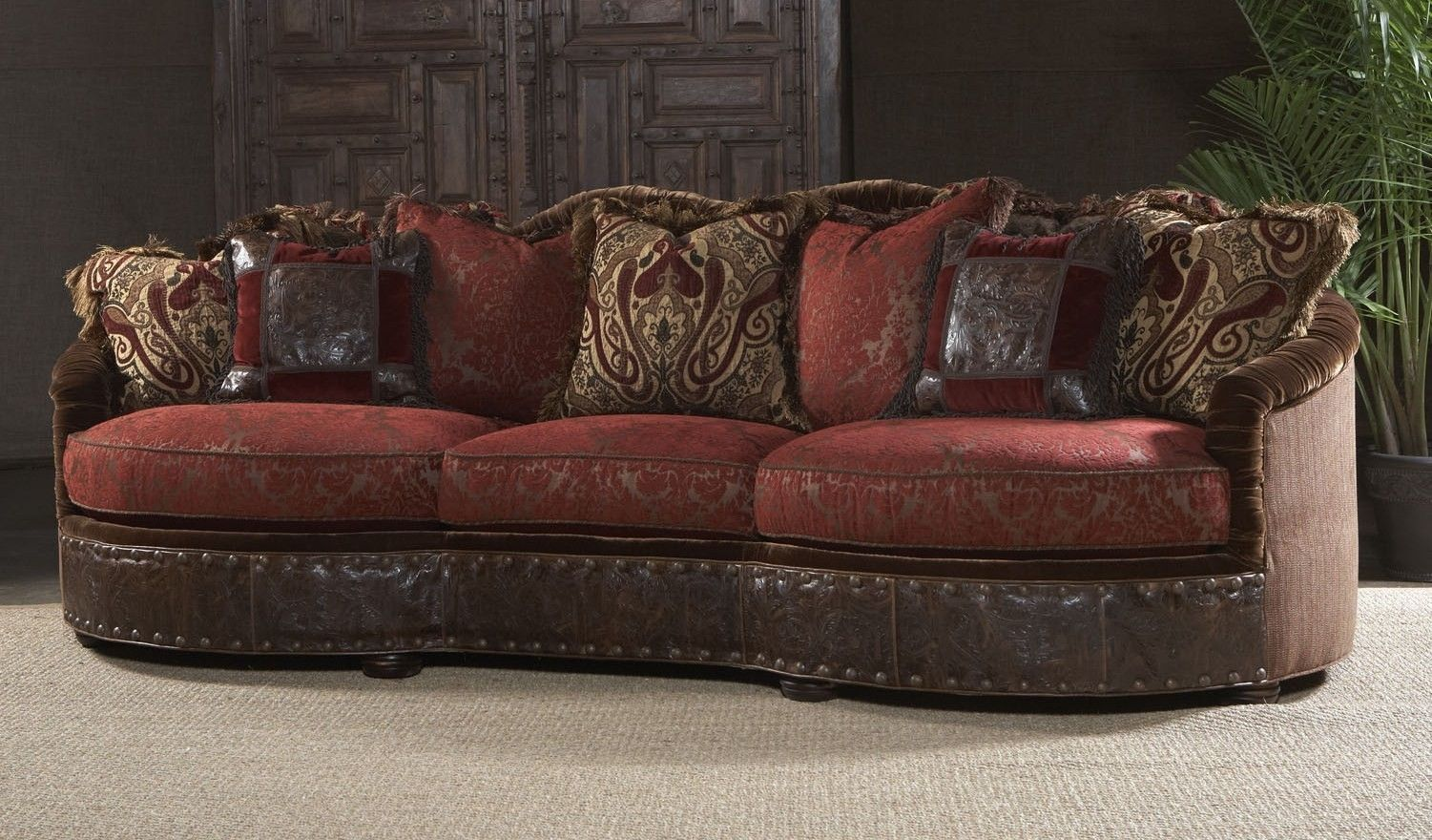 leather sofa with fabric seat cushions vs loveseat luxury furniture couch and decorative pillows