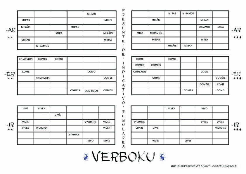 verboku appropriation et manipulation de la conjugaison par le jeu jouer au sudoku avec des. Black Bedroom Furniture Sets. Home Design Ideas