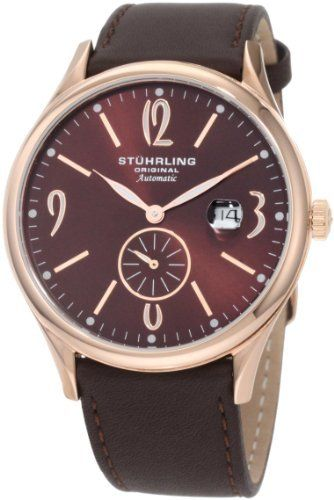 Stuhrling Original Men's 171D.3345K59 Classic Cuvette Infinity Automatic Date Watch Stuhrling Original. $128.00. Brown dial with date complication. Brown genuine leather strap with tang buckle. Shatter resistant Krysterna crystal with date magnifier. Quality automatic movement with 34 hours power reserve. Water-resistant to 165 feet (50 M)