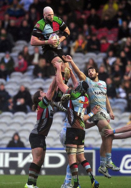 Harlequins' George Robson catches the ball in a line-out during the European Cup rugby union pool match between Harlequins and Racing Metro 92 at The Twickenham Stoop in Twickenham, western London, on December 15, 2013. CARL COURT/AFP/Getty Images