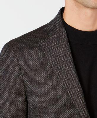 baf4a27d016 Dkny Men s Slim-Fit Chocolate Brown Diamond Pattern Wool Sport Coat - Brown  42R