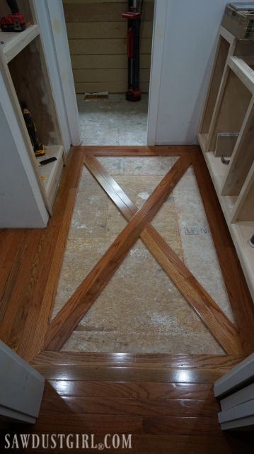 How To Install A Wood Floor With Tile Inlay Sawdust Girl Wood Tile Floors Flooring Brick And Wood