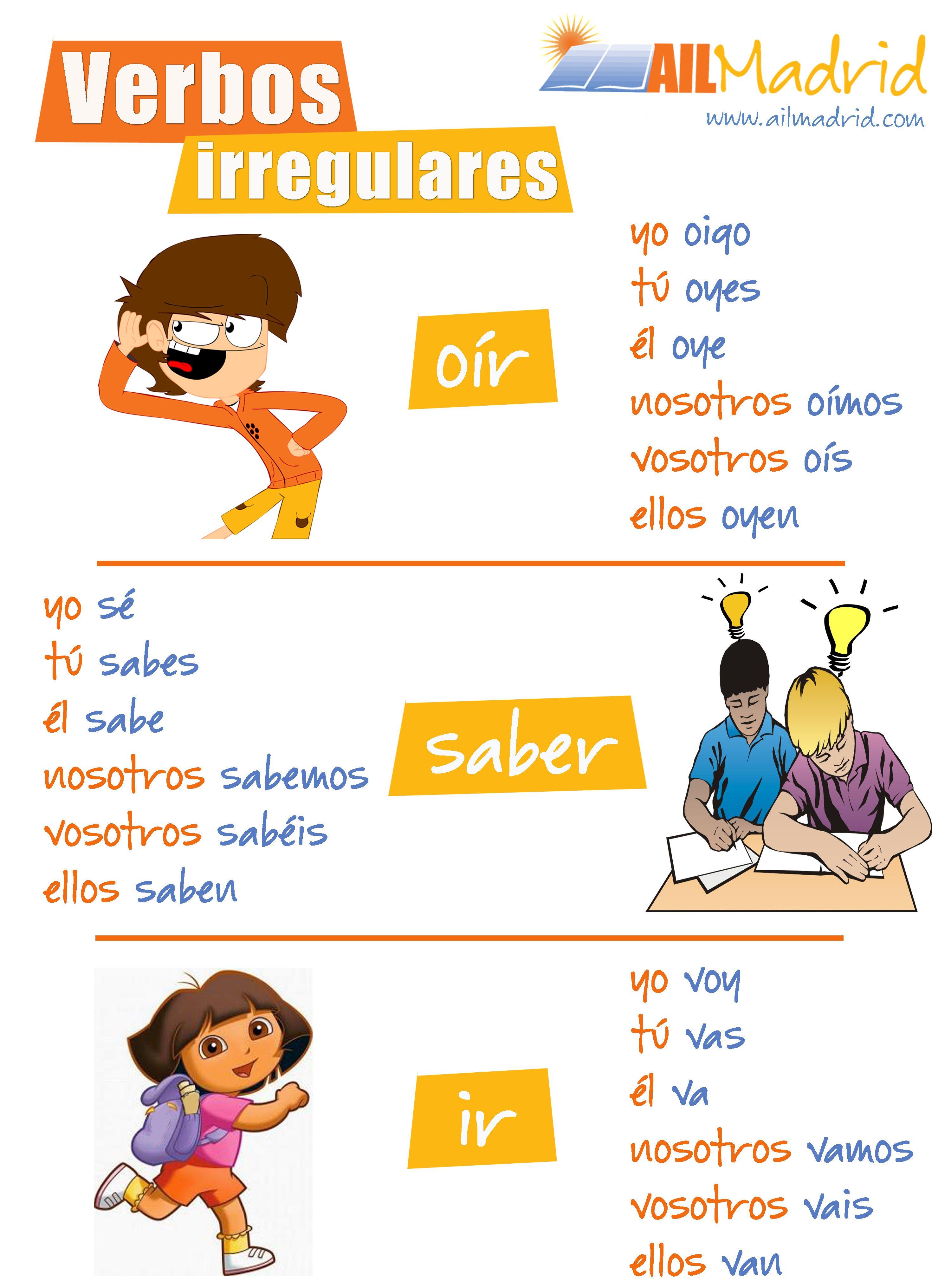 Hemos preparado una lista de algunos verbos irregulares del #español ...