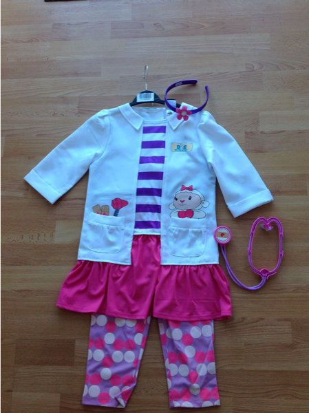 disney doc mcstuffins check up costume dress up age 5 6 years complete outfit complete outfits. Black Bedroom Furniture Sets. Home Design Ideas