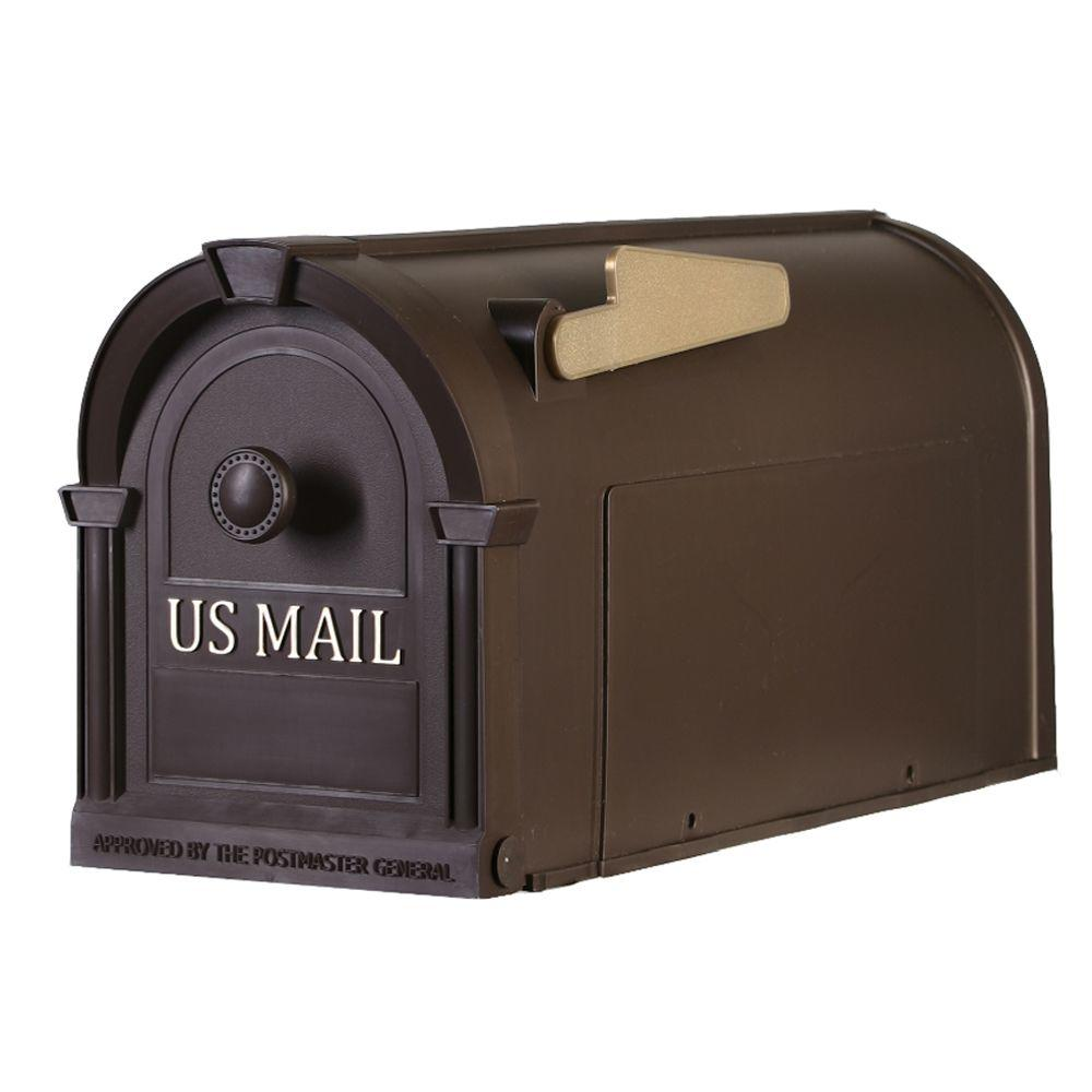 Postal Pro Post Mount Hampton Mailbox In Bronze With Gold Lettering Pp1100br Mounted Mailbox Post Mount Mailbox