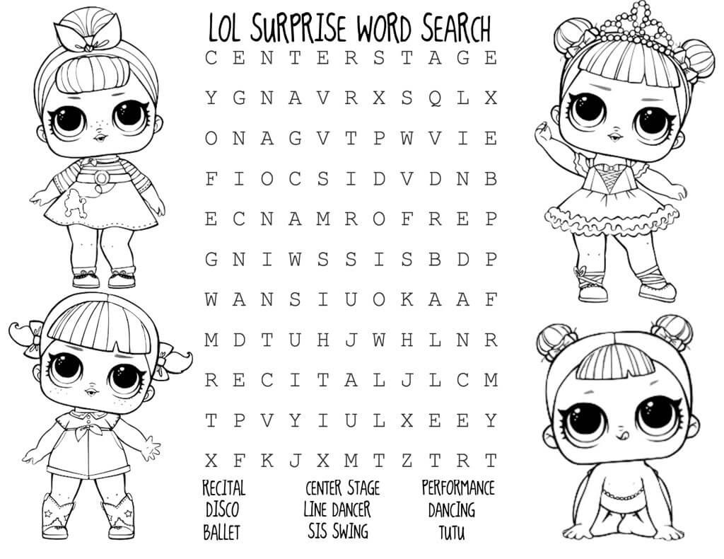 Lol Surprise Doll Activity Sheets Kids Bday Parties In