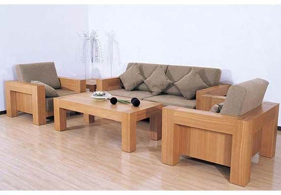 Simple Wooden Sofa Set Design For Minimalist Living Room