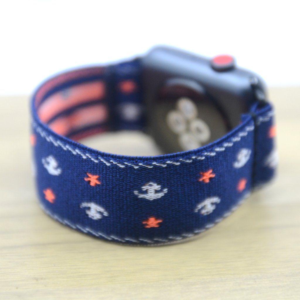 Anchor pattern blue stretch elastic apple watch band 38mm