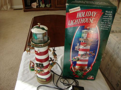Vintage Holiday Lighthouse Tree Topper Or Mantle Display