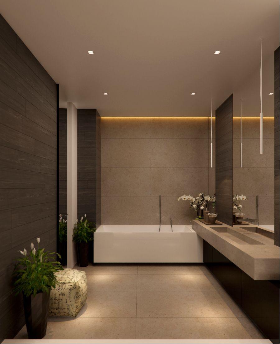 Luxury bathroom with no windows - subtle lighting ...