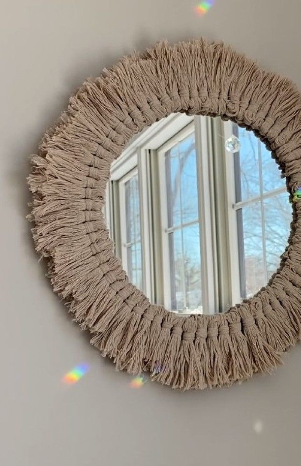 """Lion Brand on Instagram: """"Welcome back to Camp Crafty @thecampcrafty! This week Sarah teaches us how to make a Boho Fringed Mirror using Just Hemp Yarn. It's time to…"""""""