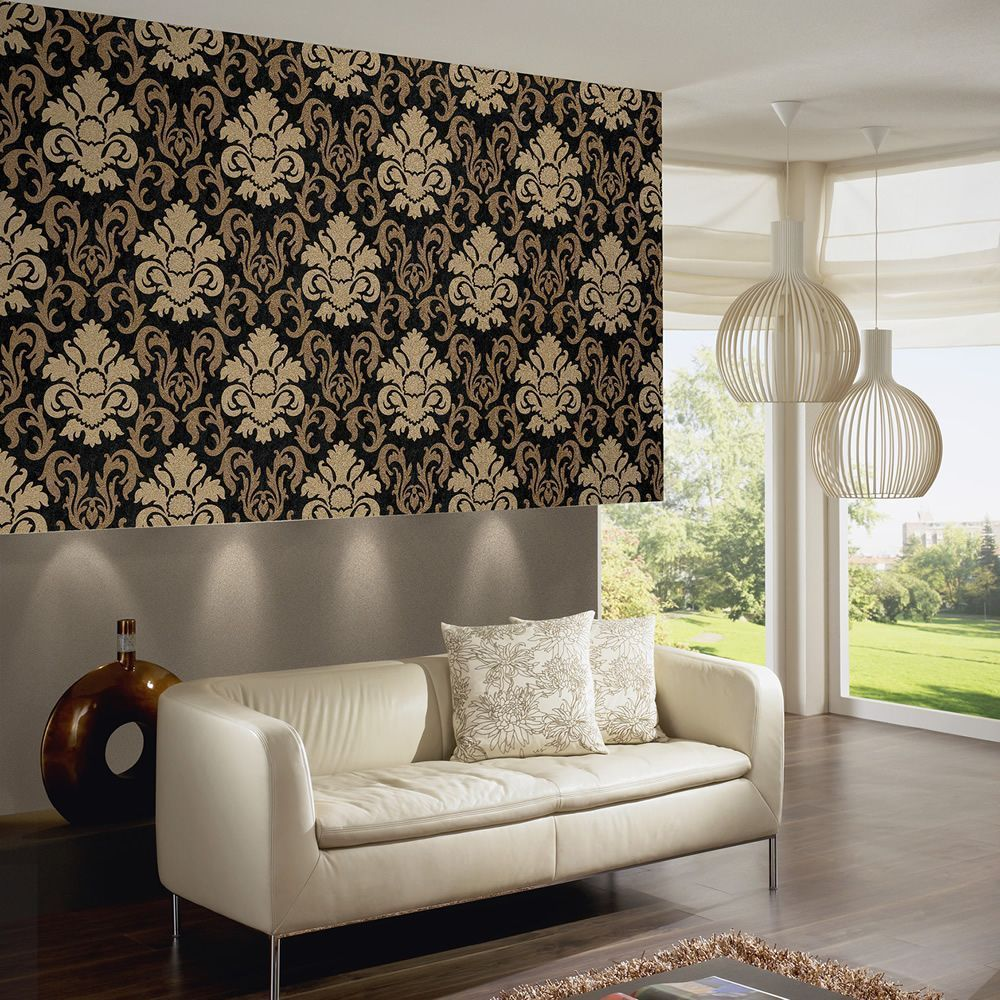 Carat Damask Glitter Wallpaper Gold And Black 13343 90 This Beautiful Dam Black And Gold Living Room Black And Gold Living Room Wallpaper Gold Living Room