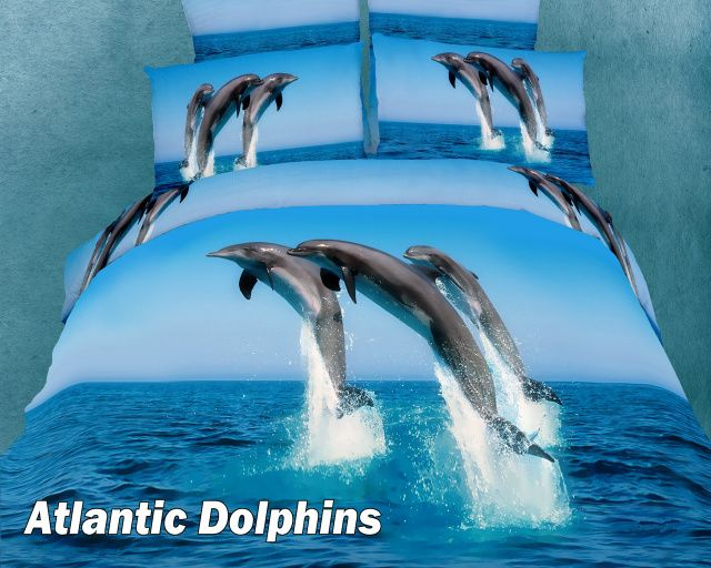 Dolce Mela Atlantic Dolphins 4 Pc Duvet Cover Bed in a Box Twin/Twin-XL Gift Set  $139.00