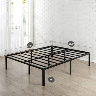 Low Profile 6 Inch Metal Platform Bed Frame With Wood Mattress