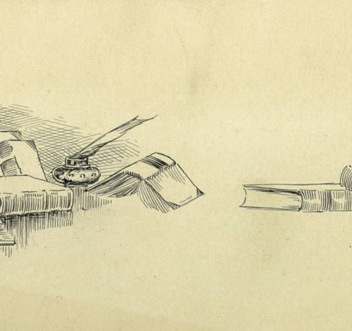 Drawing of books and quill :: Zaner-Bloser Penmanship