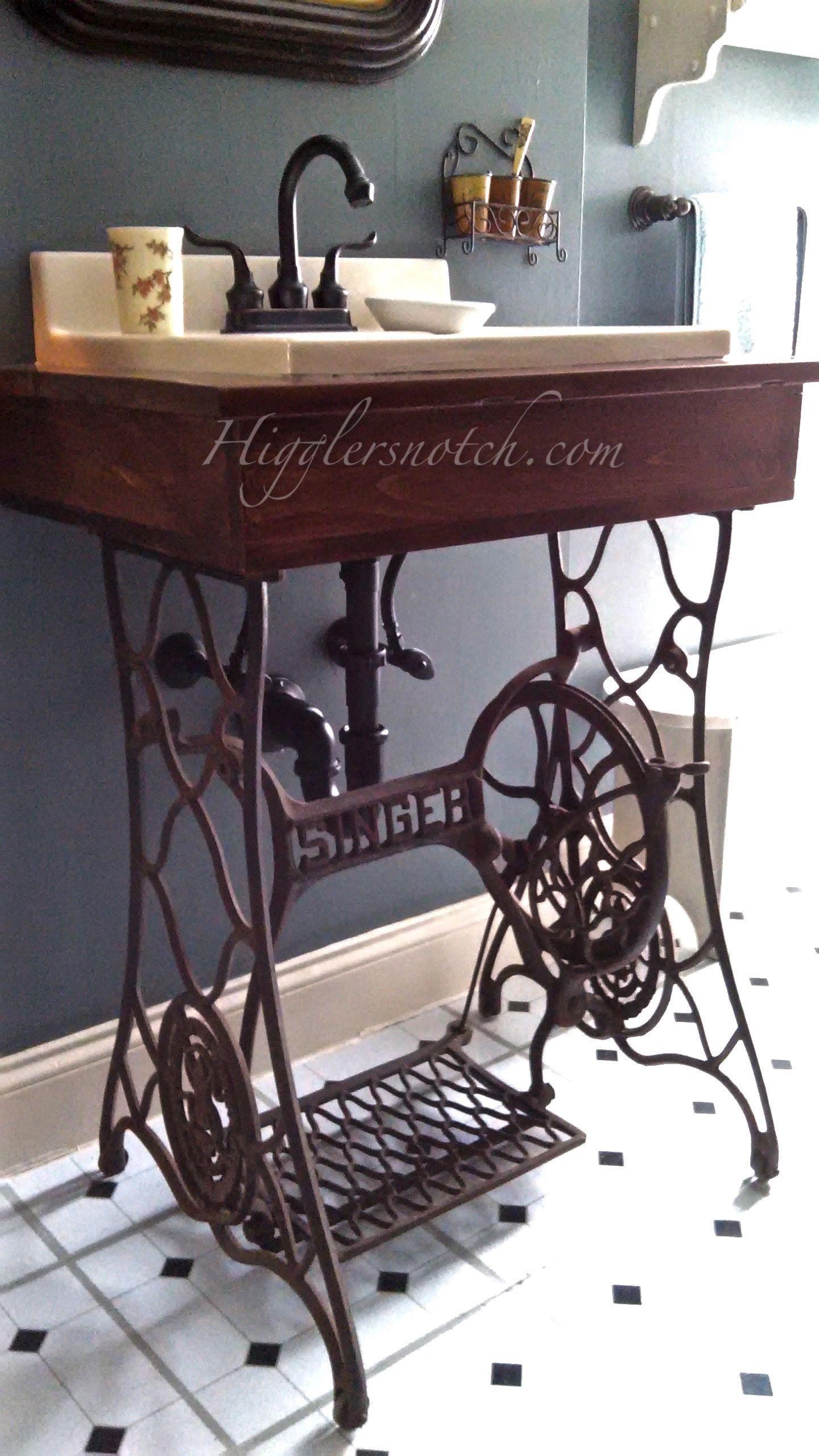 Maquina De Coser Convertida En Ba O Muebles Vintage Pinterest  # Muebles Maquina De Coser Segunda Mano