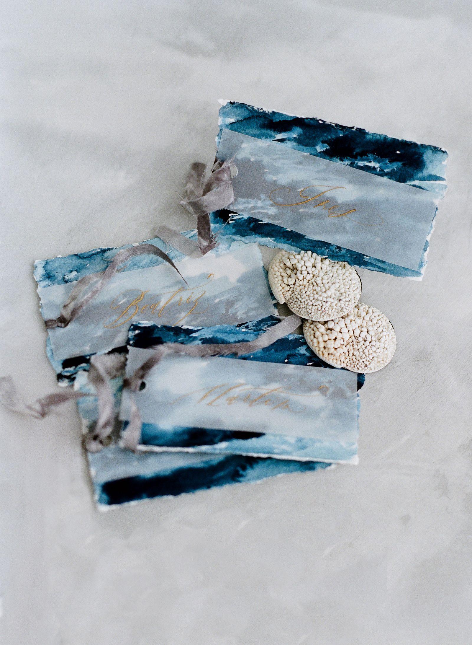 Serene coastal bridal inspiration in blue and grey hues via magnolia