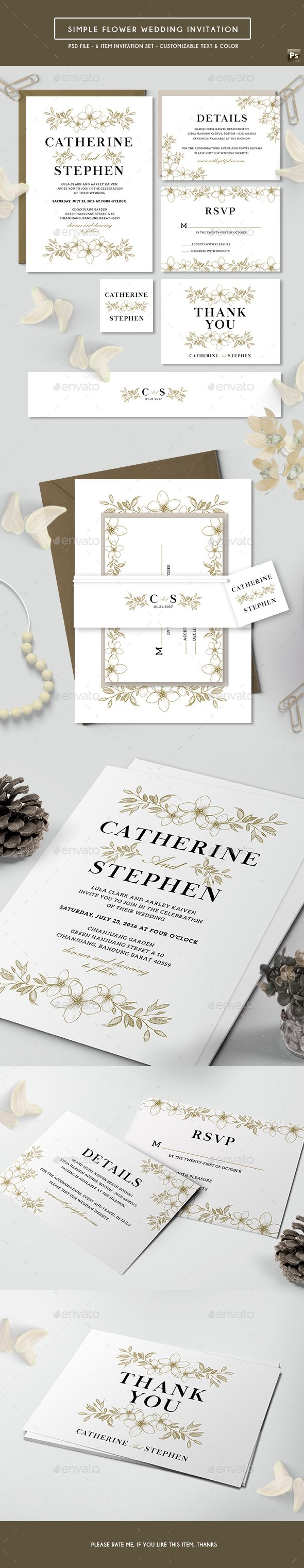 Simple Flower Wedding Invitation | Simple flowers, Template and Psd ...