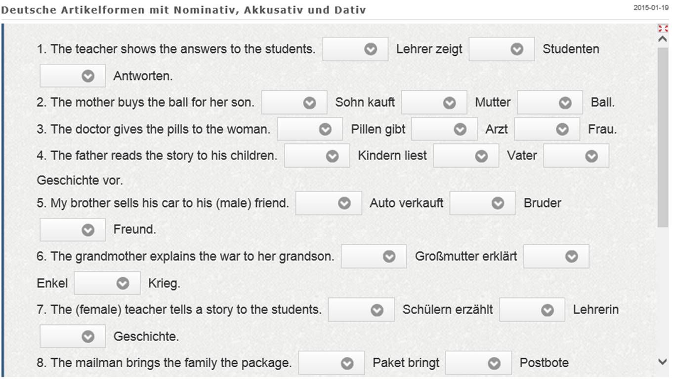 Online exercise to practice the German article forms, particularly ...