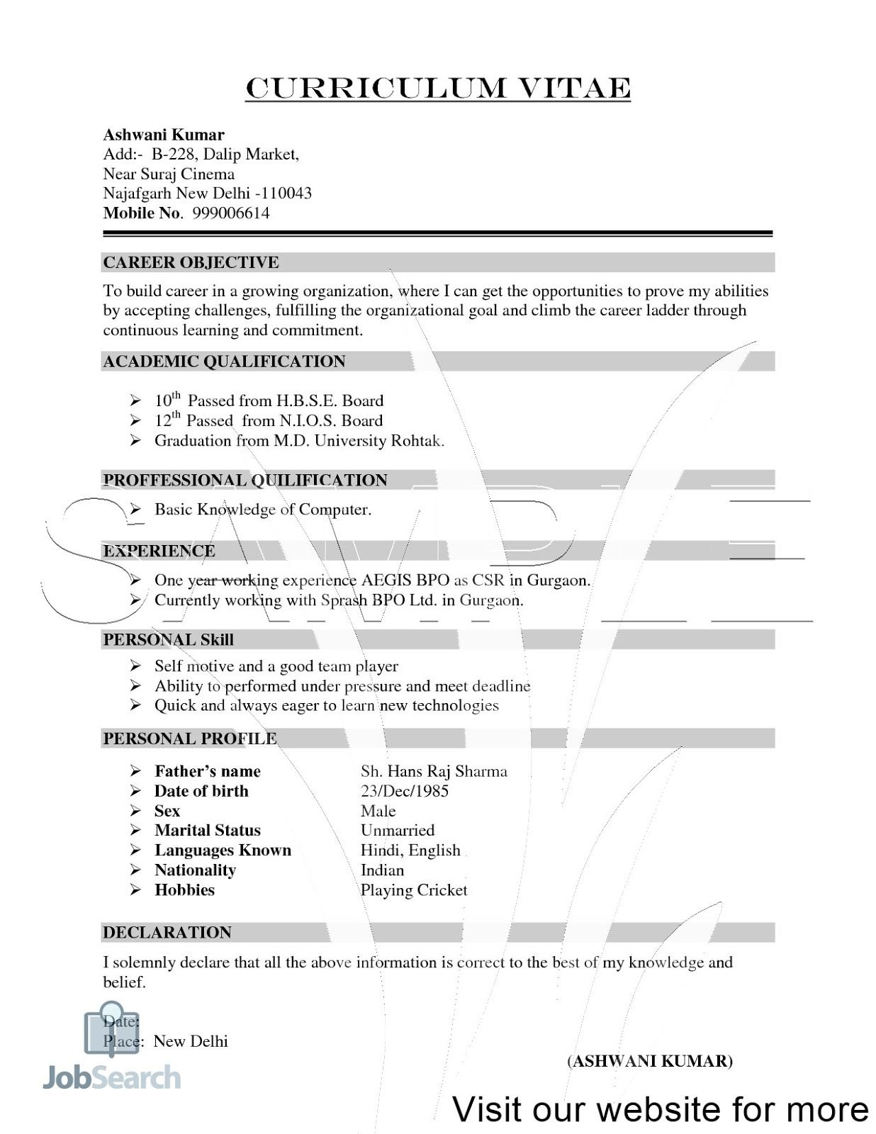 Sample Resume For Freshers Download