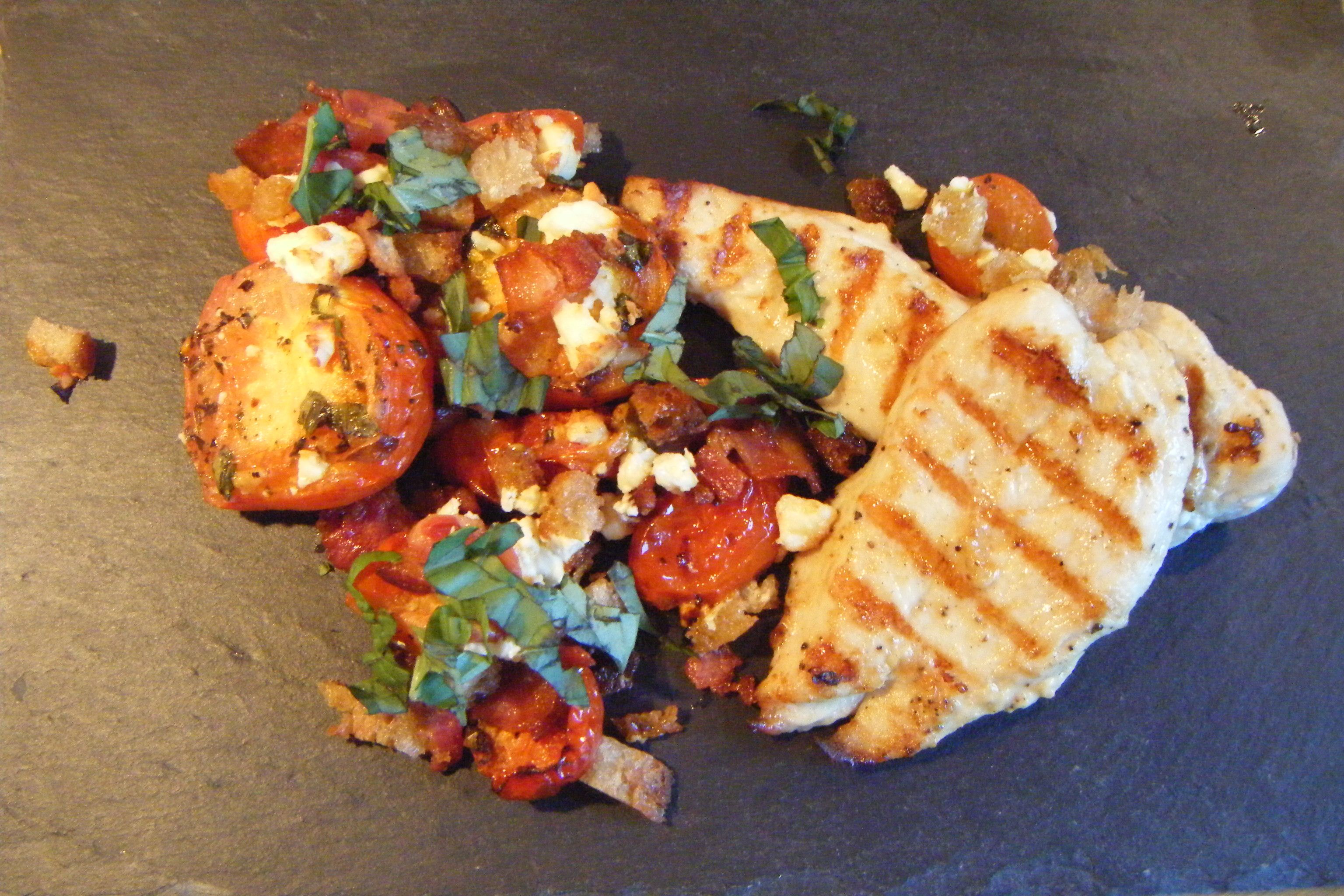 Oven roasted tomato salad with grilled chicken