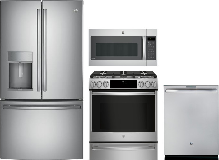 Ge Profile 4 Piece Kitchen Appliances Package With French Door