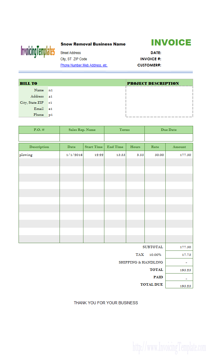Snow Removal Billing Format Invoice Template Snow Removal