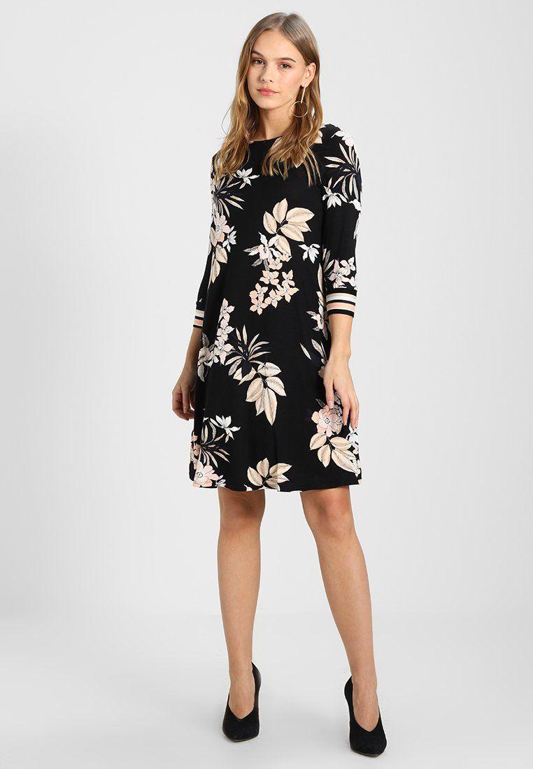 Wallis Petite Neutral Floral Stripe Swing Dress Jerseyjurk