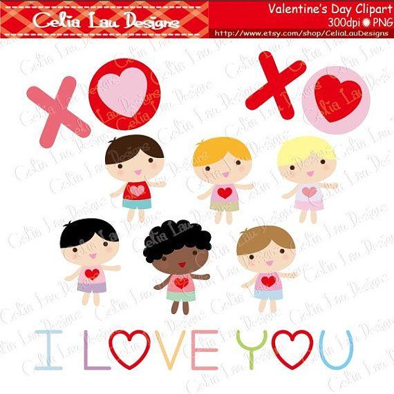 Valentine Kids Clipart Valentine Baby Clipart Kawaii Kids Etsy Valentines For Kids Kids Clipart Valentine Baby