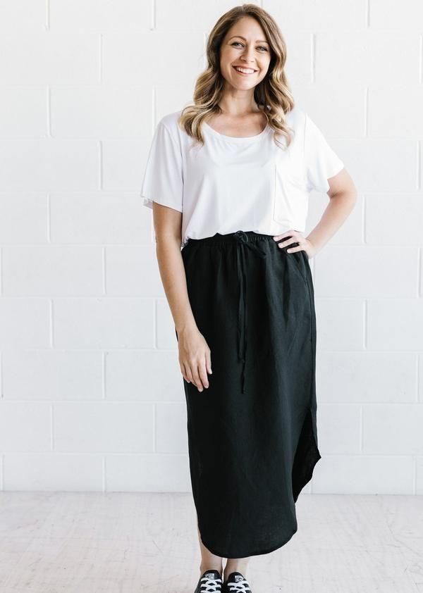 Linen Skirt - Black