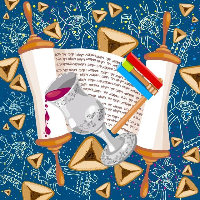 OERJU 5x4ft Happy Purim Carnival Festival Backdrop Hamans Ear Golden Mask Photography Background Jewish Holiday Decorations Purim Celebration Banner Kids Adults Holiday Portrait Photo Props