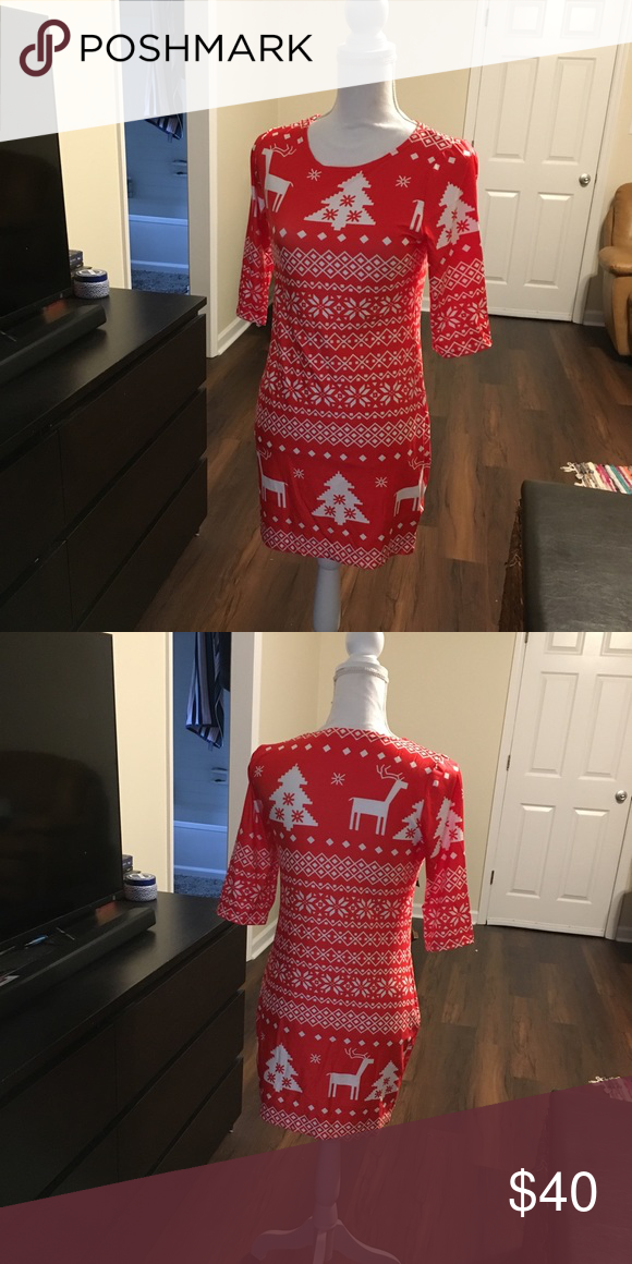 d9ae37017ee Cute Christmas dress size medium Adorable Christmas sweater print dress.  Material is a soft and stretchy spandex type material. Totally adorable for  your ...