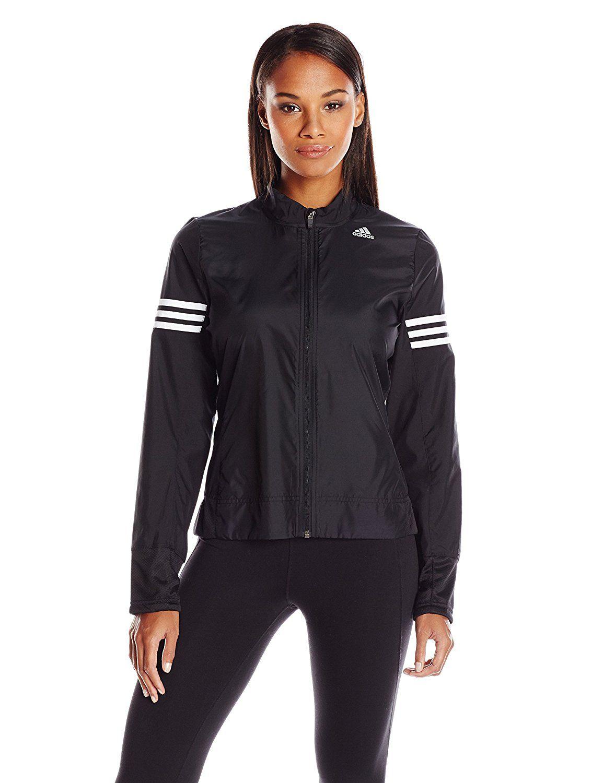 adidas Women's Running Response Wind Jacket, Black/White/3 ...