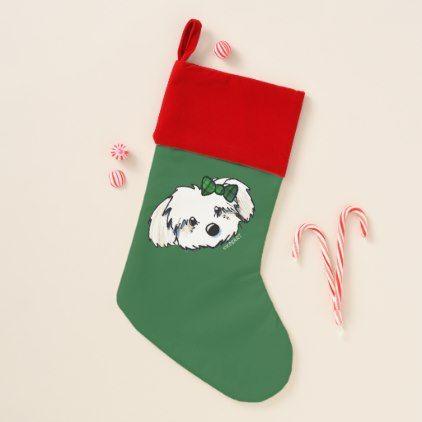 Havanese Girl Dark Green Christmas Christmas Stocking | Pinterest ...
