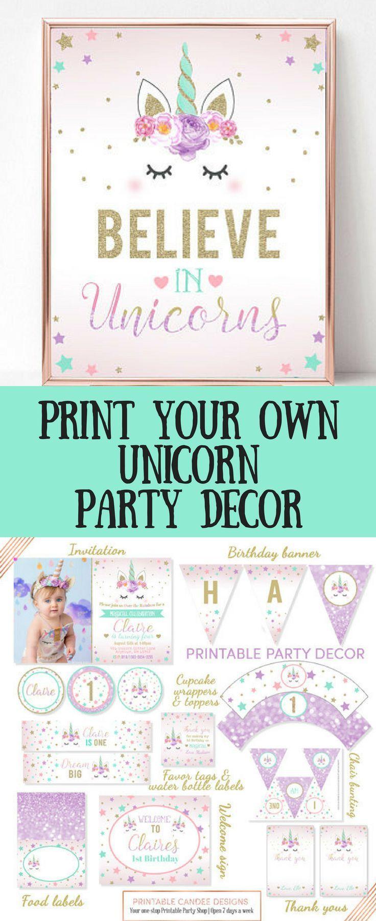 Printable unicorn party decor kit, editable at home. Banners ...