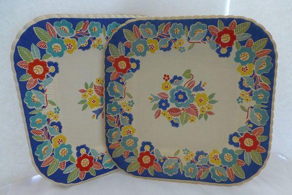 Vintage Retro Party Plates Reed\u0027s Set of 6 8 Inch Plates Embroidered Floral & Vintage Retro Party Plates Reed\u0027s Set of 6 8 Inch Plates Embroidered ...