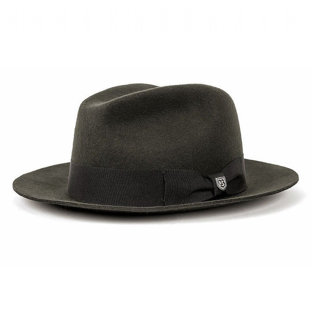 baff53b3aaae30 Brixton Men s Diego charcoal Felt hat fedora Indiana Trilby black Vintage  wide