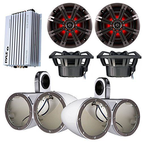 Marine Speaker Package 4x Kicker KM654LCW 65 LED Light Boat Audio Speakers Bundle Combo With 2x KMTEDW Dual Wakeboard Tower Enclosures