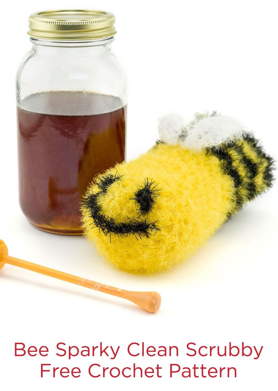 Bee Sparky Clean Scrubby Free Crochet Pattern in Red Heart Scrubby ...